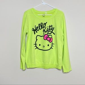 Hello Kitty Sanrio Neon Yellow Long Sleeve Shirt